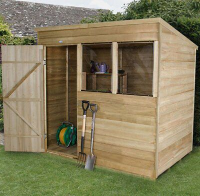 7x5 forest pent overlap wooden shed departments diy at bq