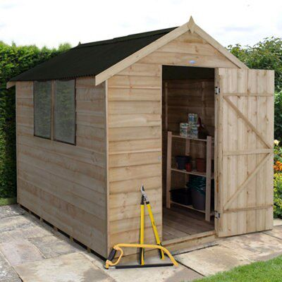 8x6 apex overlap wooden shed departments tradepoint for Garden shed 8x6
