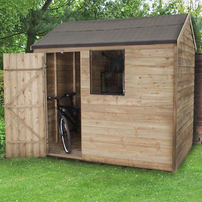 8X6 Reverse Apex Overlap Wooden Shed Base Included