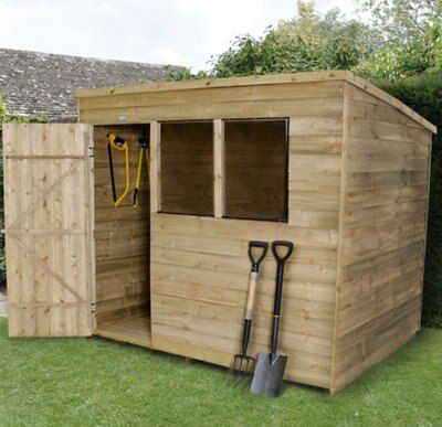 8x6 Pent Overlap Wooden Shed Departments Diy At B Amp Q