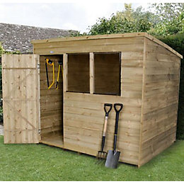 8X6 Pent Overlap Wooden Shed with Assembly Service