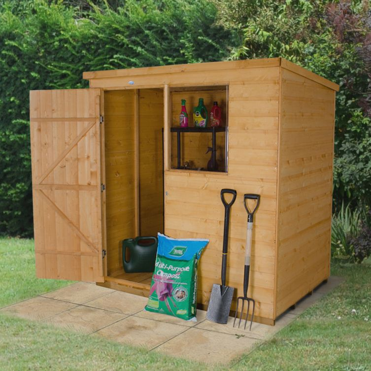 6x4 pent shiplap wooden shed departments diy at b q for Garden shed 6x4 sale