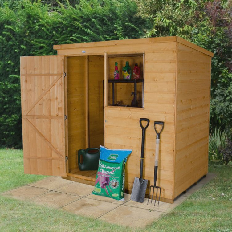 6x4 pent shiplap wooden shed with assembly service base included departments diy at bq - Garden Sheds 6x4