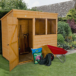 7X5 Pent Shiplap Wooden Shed with Base