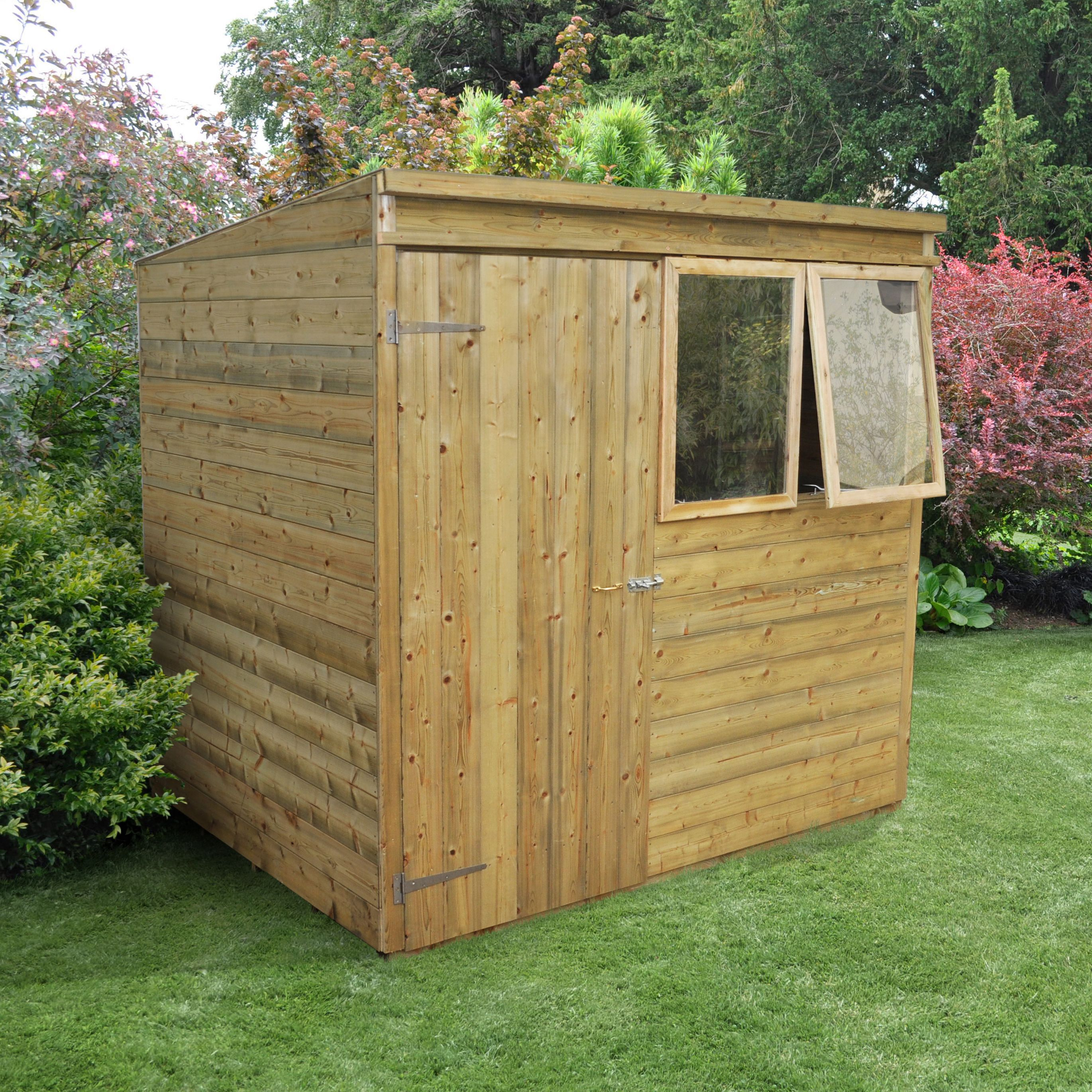 7x5 forest pent tongue groove wooden shed with assembly for Garden shed 7x5