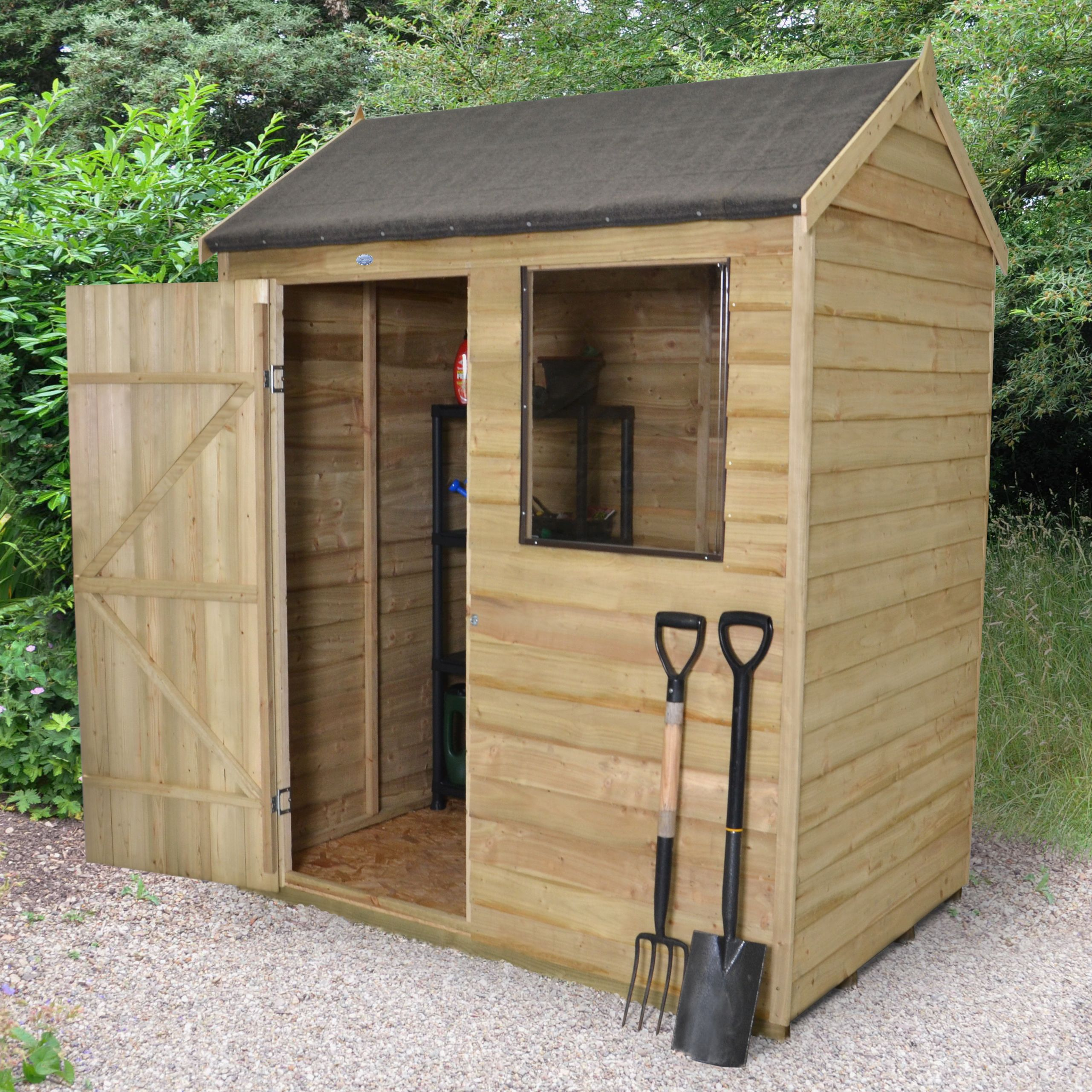 6X4 Reverse Apex Overlap Wooden Shed with Base