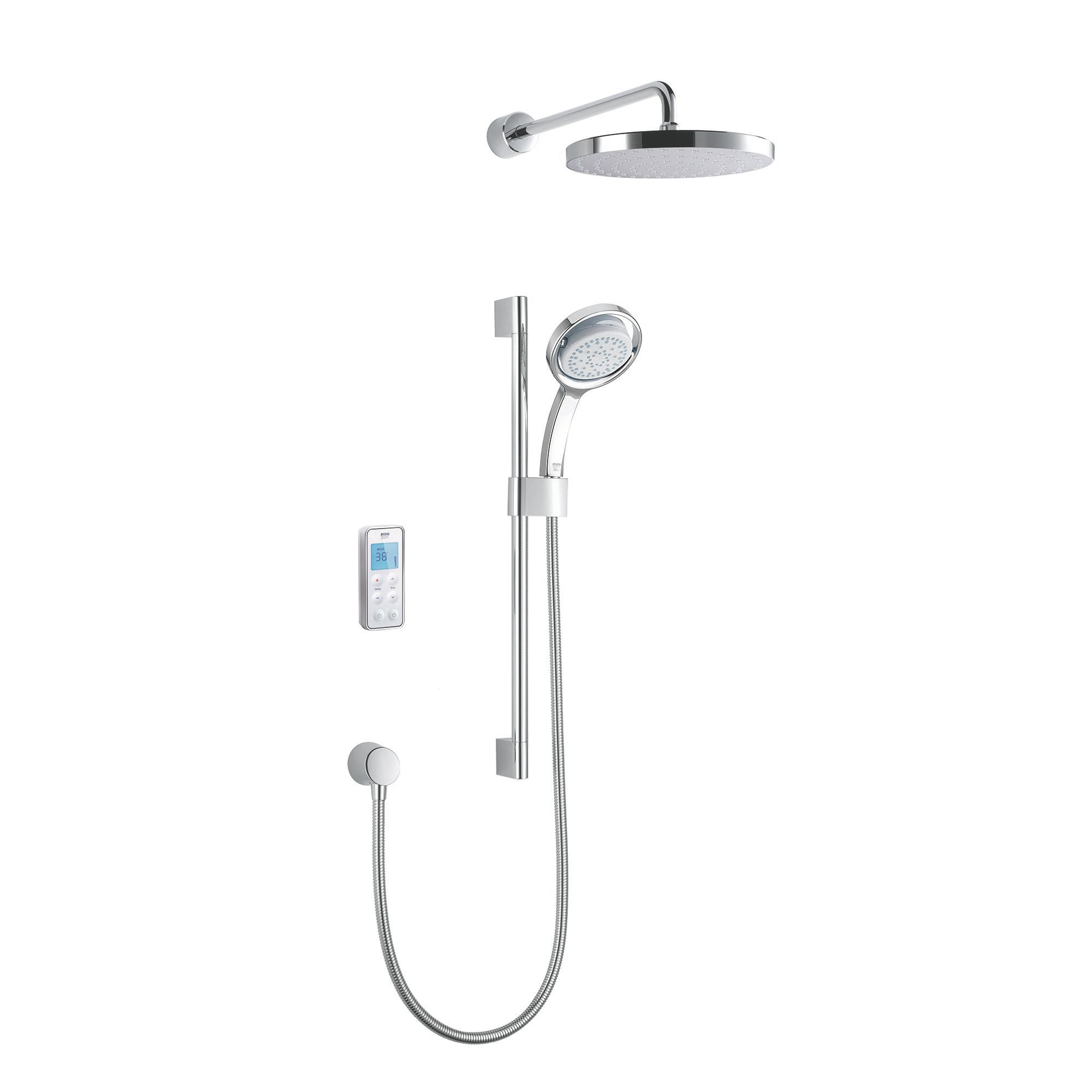 Mira Vision High Pressure Rear Fed White & Chrome Effect Thermostatic Digital Mixer Shower
