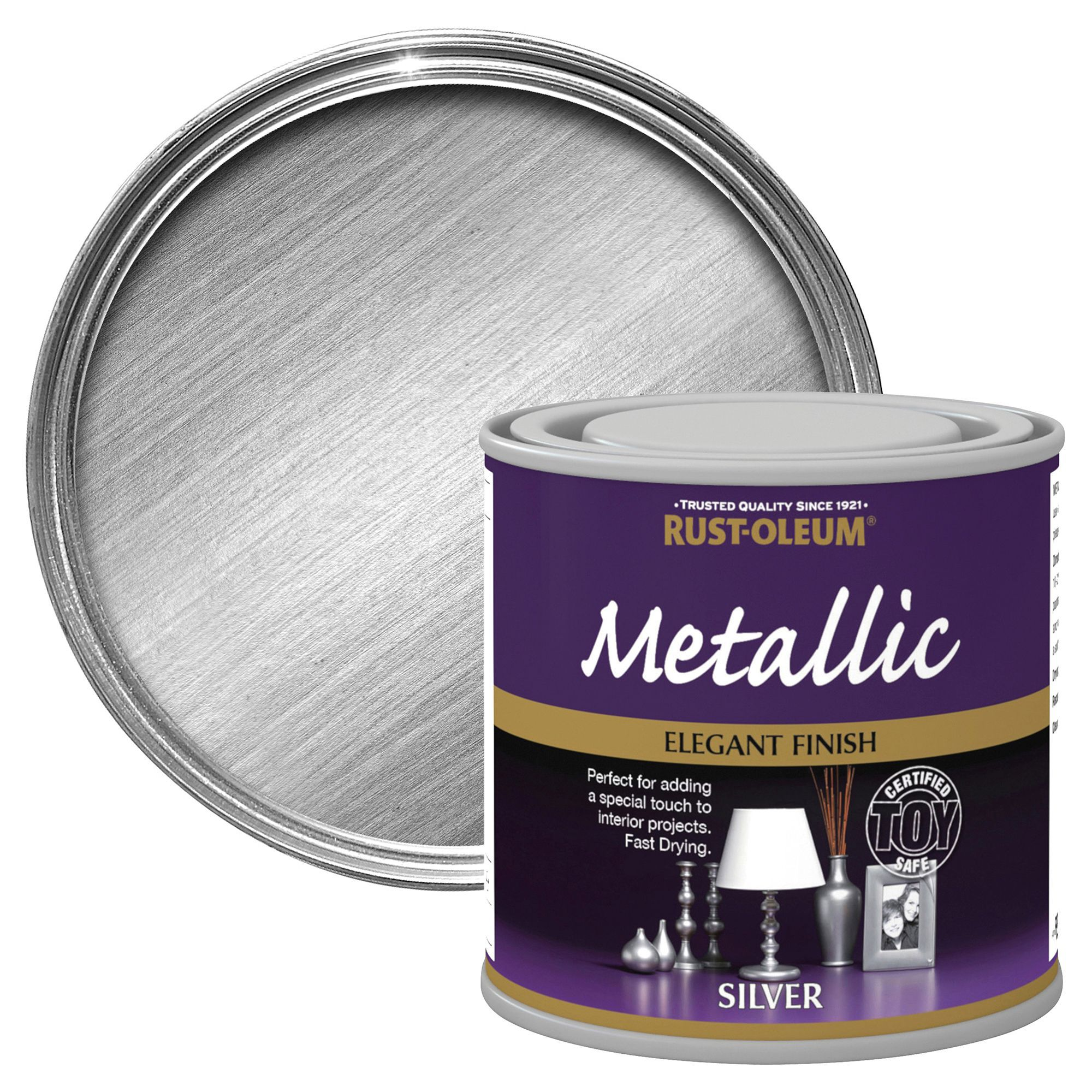 Rust Oleum Rust Oleum Silver Metallic Metallic Paint 250 Ml Departments Diy At B Q