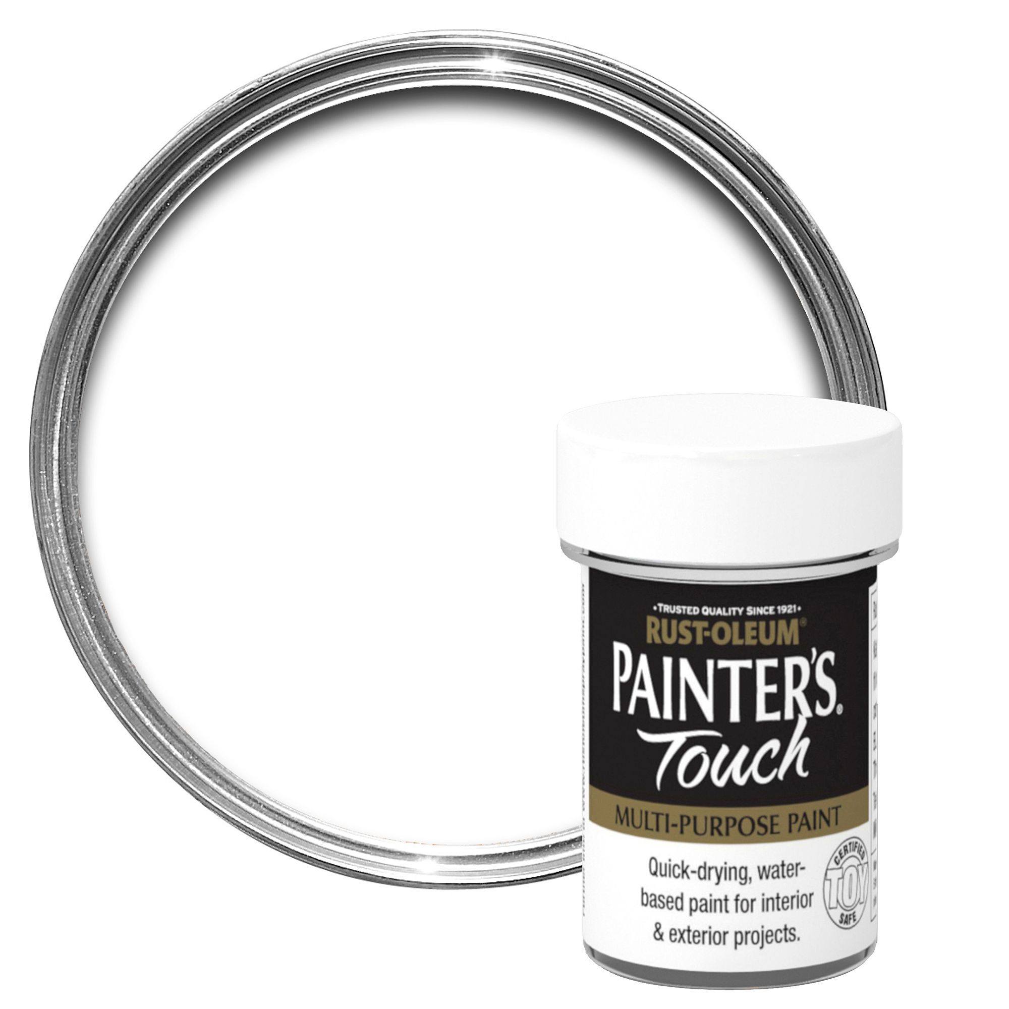 Rust-oleum Painter's Touch Interior & Exterior White Matt Multipurpose Paint 20ml