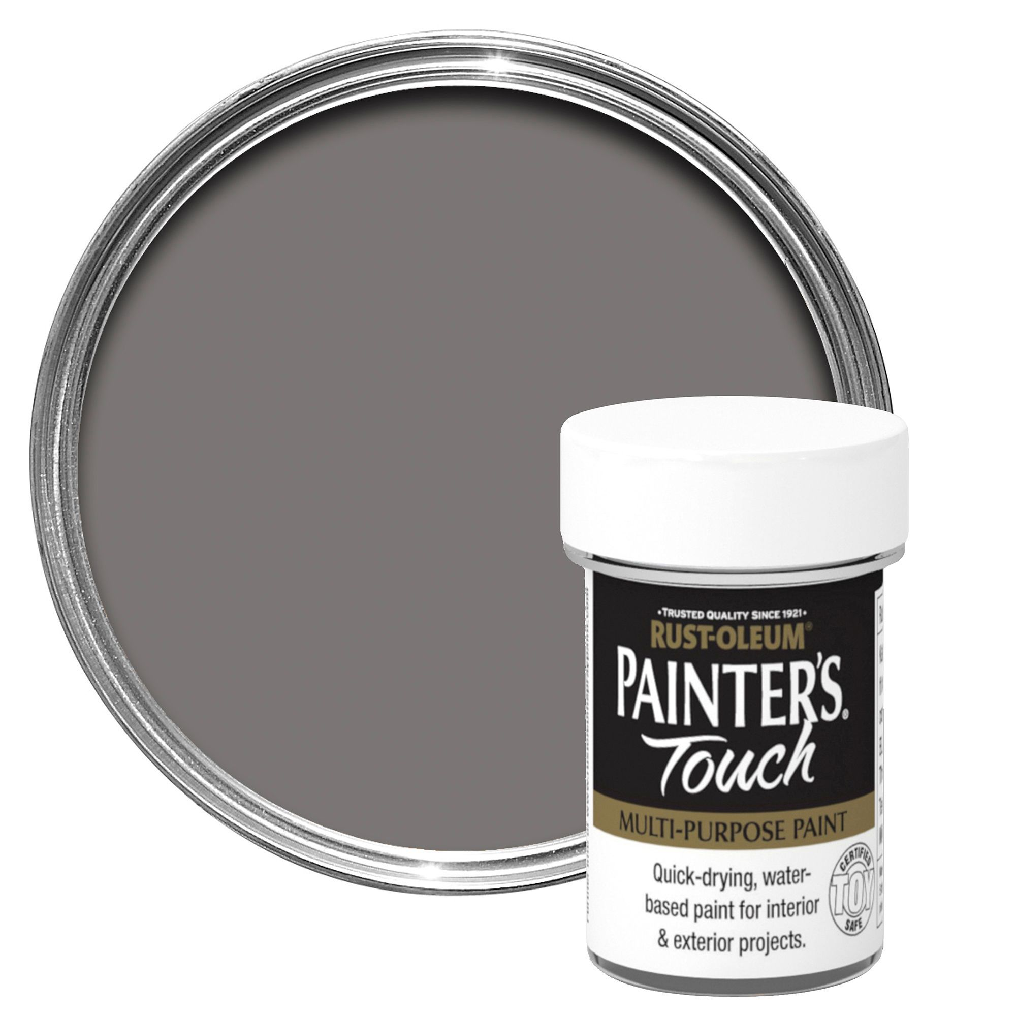 Rust-Oleum Painter's Touch Interior & Exterior Dark Grey Gloss Multipurpose Paint 20ml