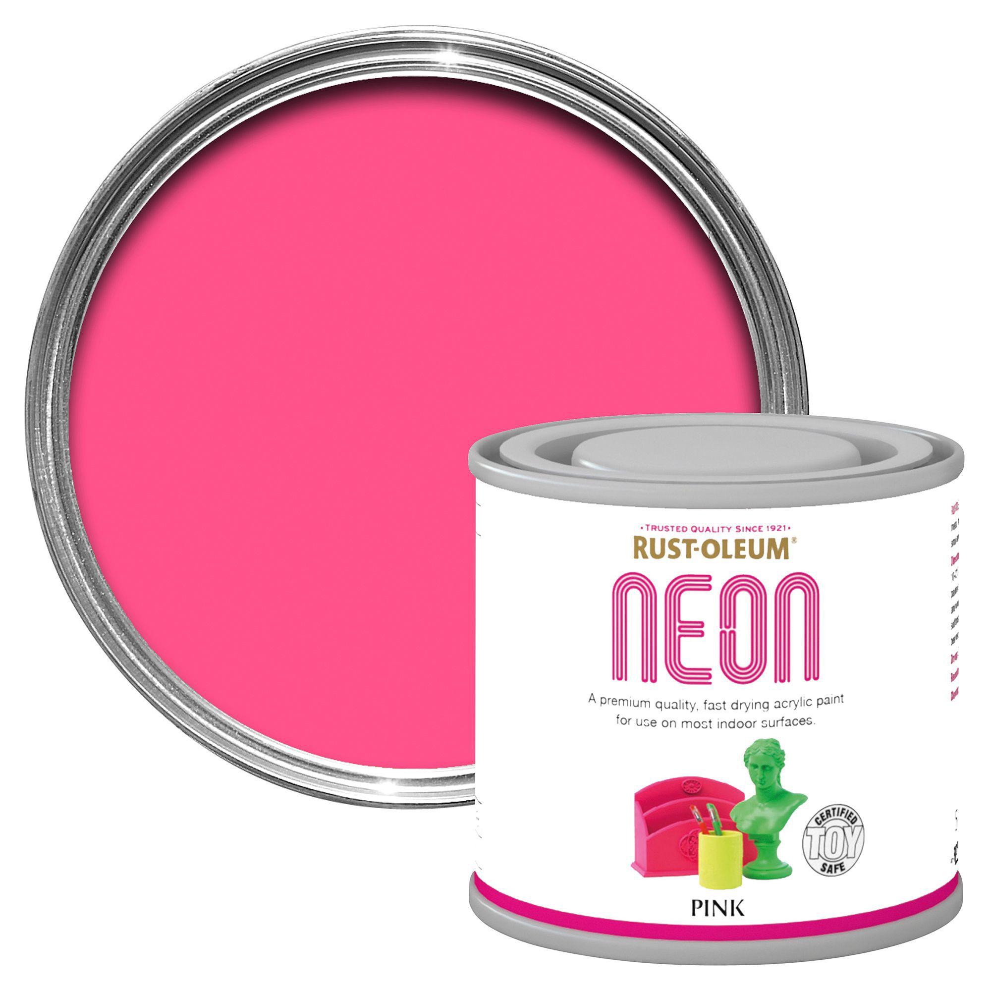 Rust oleum pink neon paint 125ml departments diy at b amp q