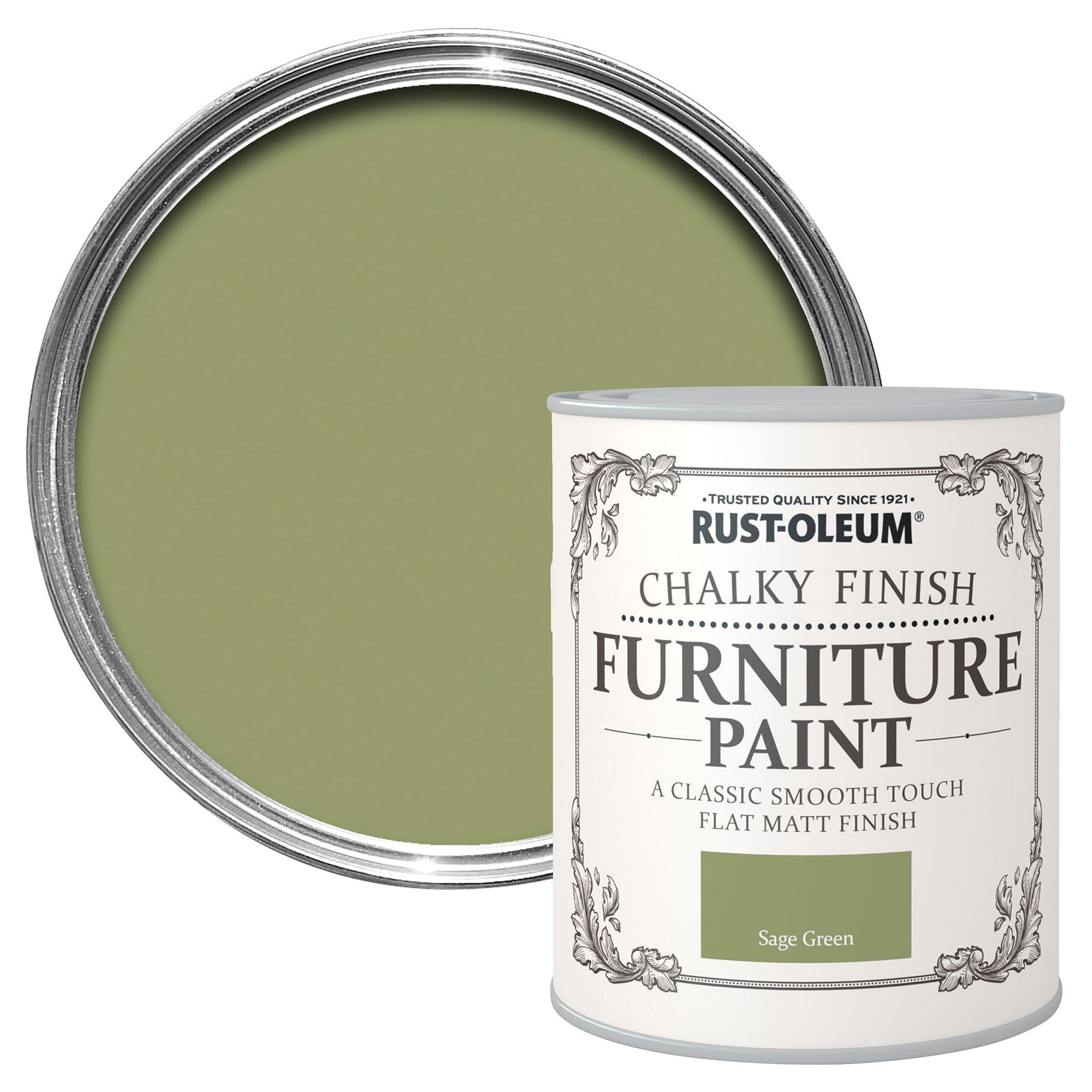 Rust-oleum Rust-oleum Sage Green Matt Furniture Paint 750 Ml