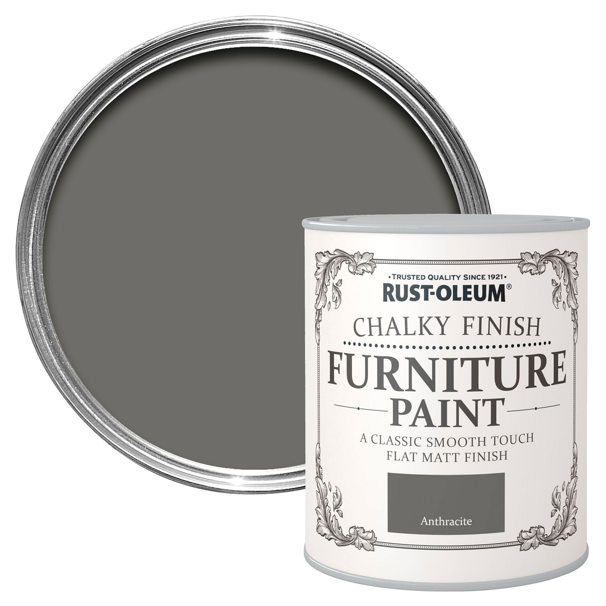 Rust Oleum Rust Oleum Anthracite Chalky Matt Furniture Paint 750 Ml