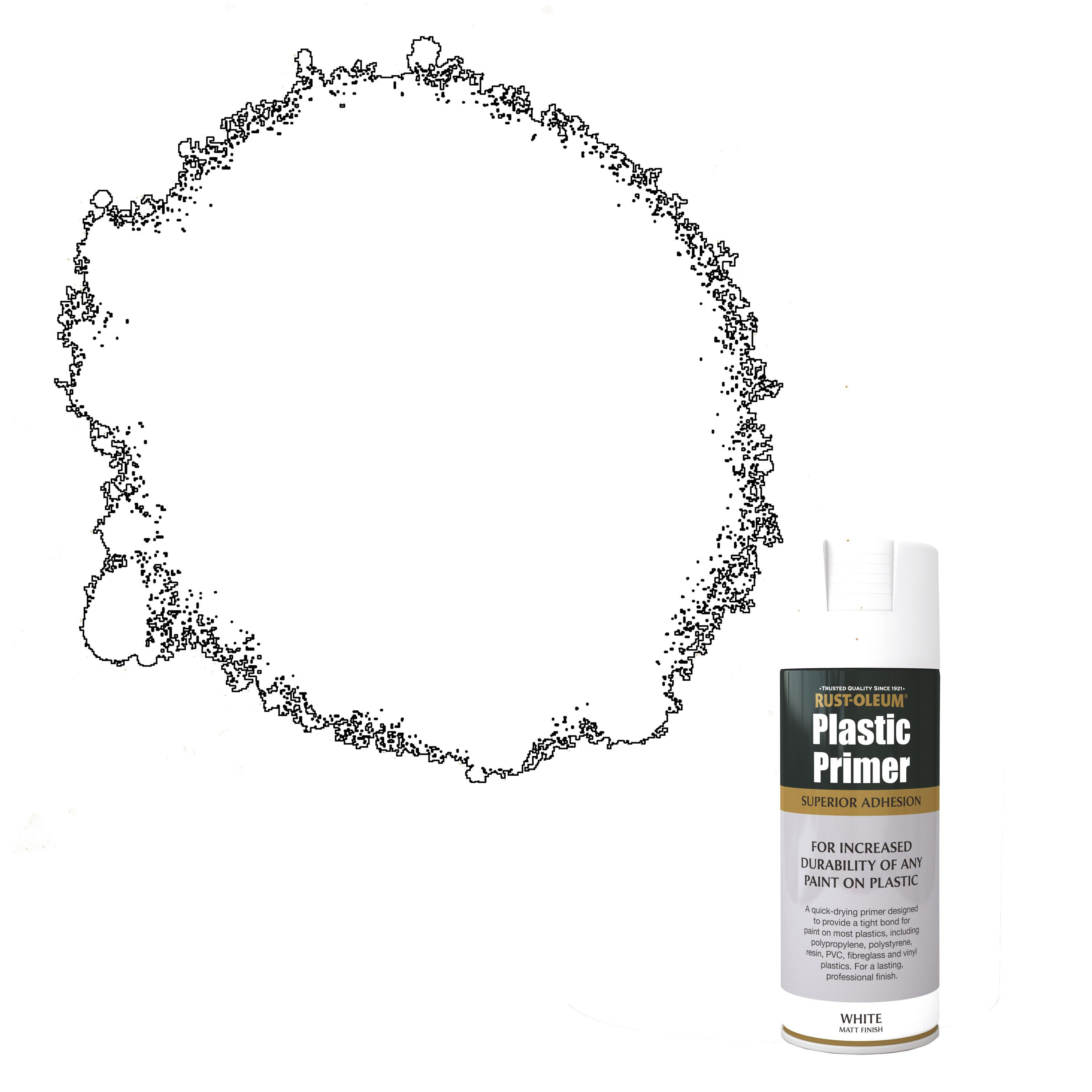 Rust-oleum White Matt Plastic Primer Spray Paint 400 Ml