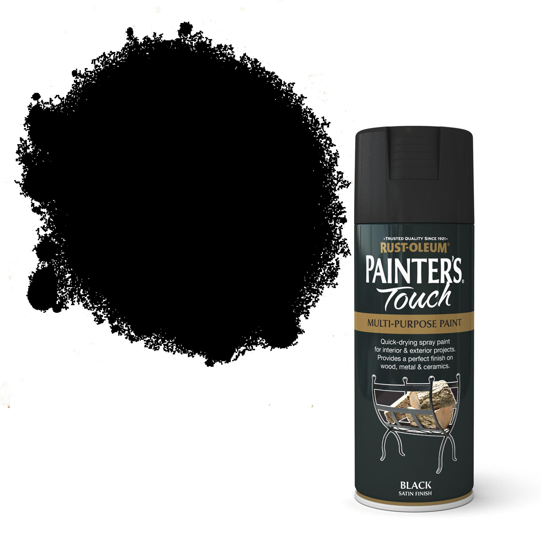Rust-oleum Painter's Touch Black Satin Effect Satin Decorative Spray Paint 400 Ml