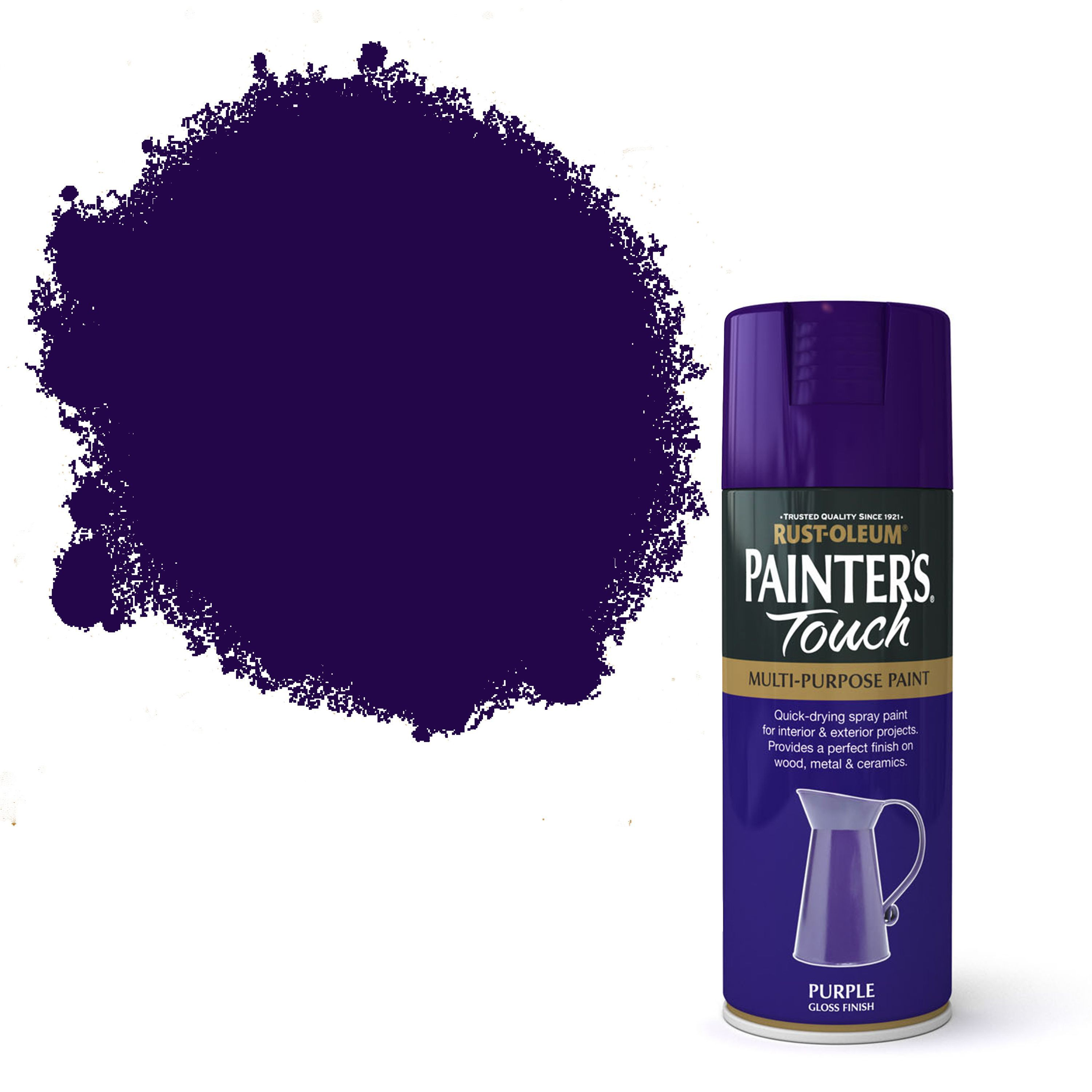 Purple-Exterior-Gloss-Paint. Rust Oleum Painters Touch Purple Gloss Gloss Decorative Spray Paint 400 Ml
