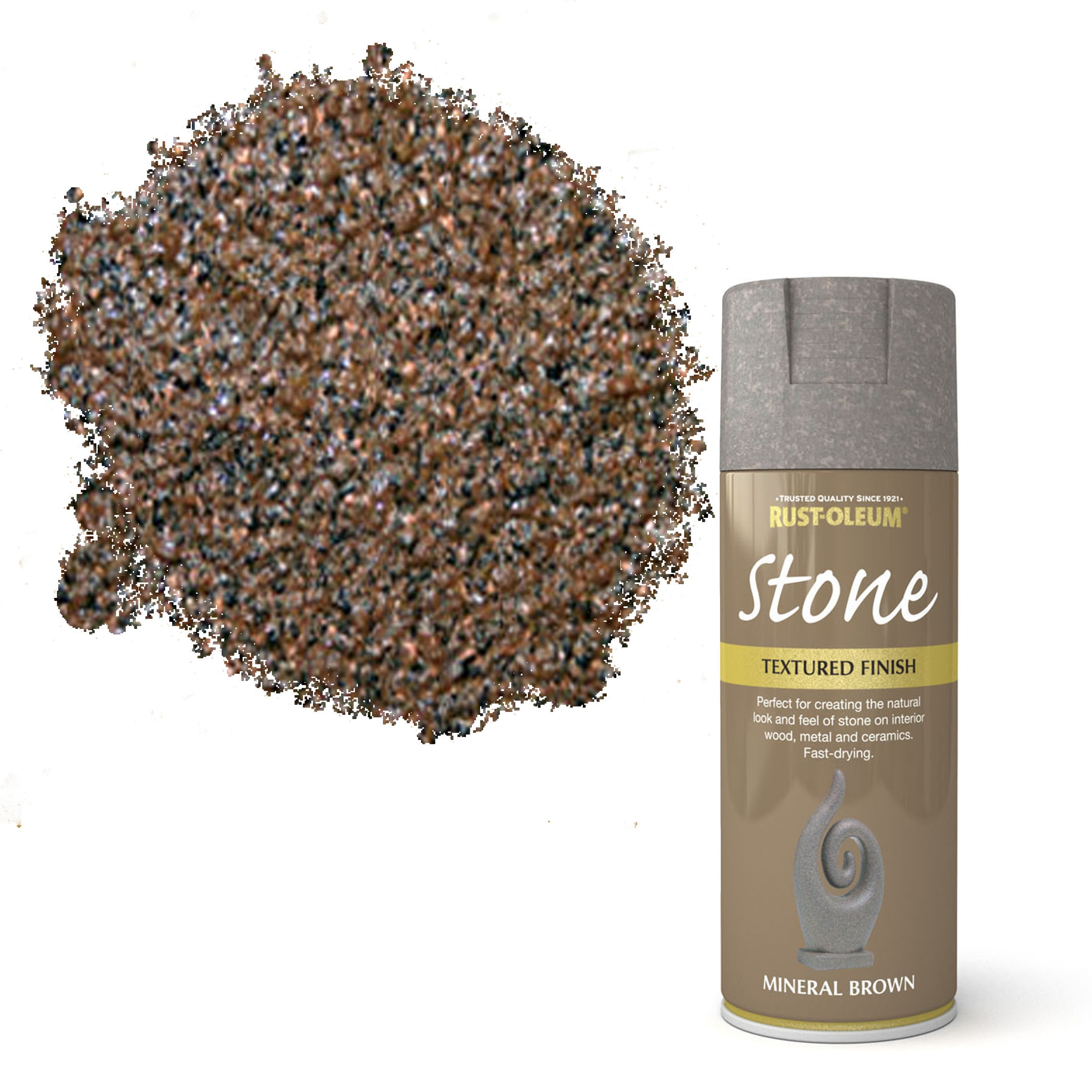 Rust-oleum Stone Mineral Brown Stone Effect Textured Spray Paint 400 Ml
