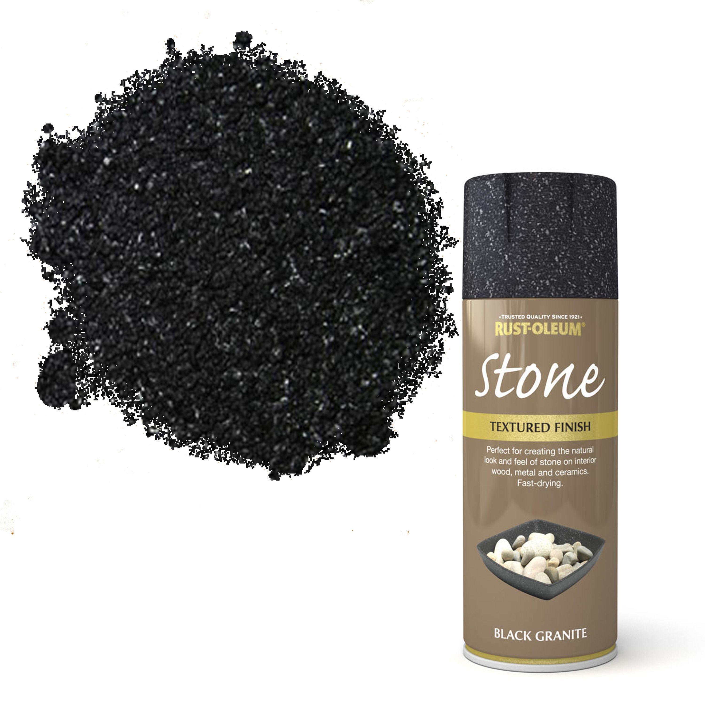 Rust-oleum Stone Black Granite Stone Effect Textured Spray Paint 400 Ml