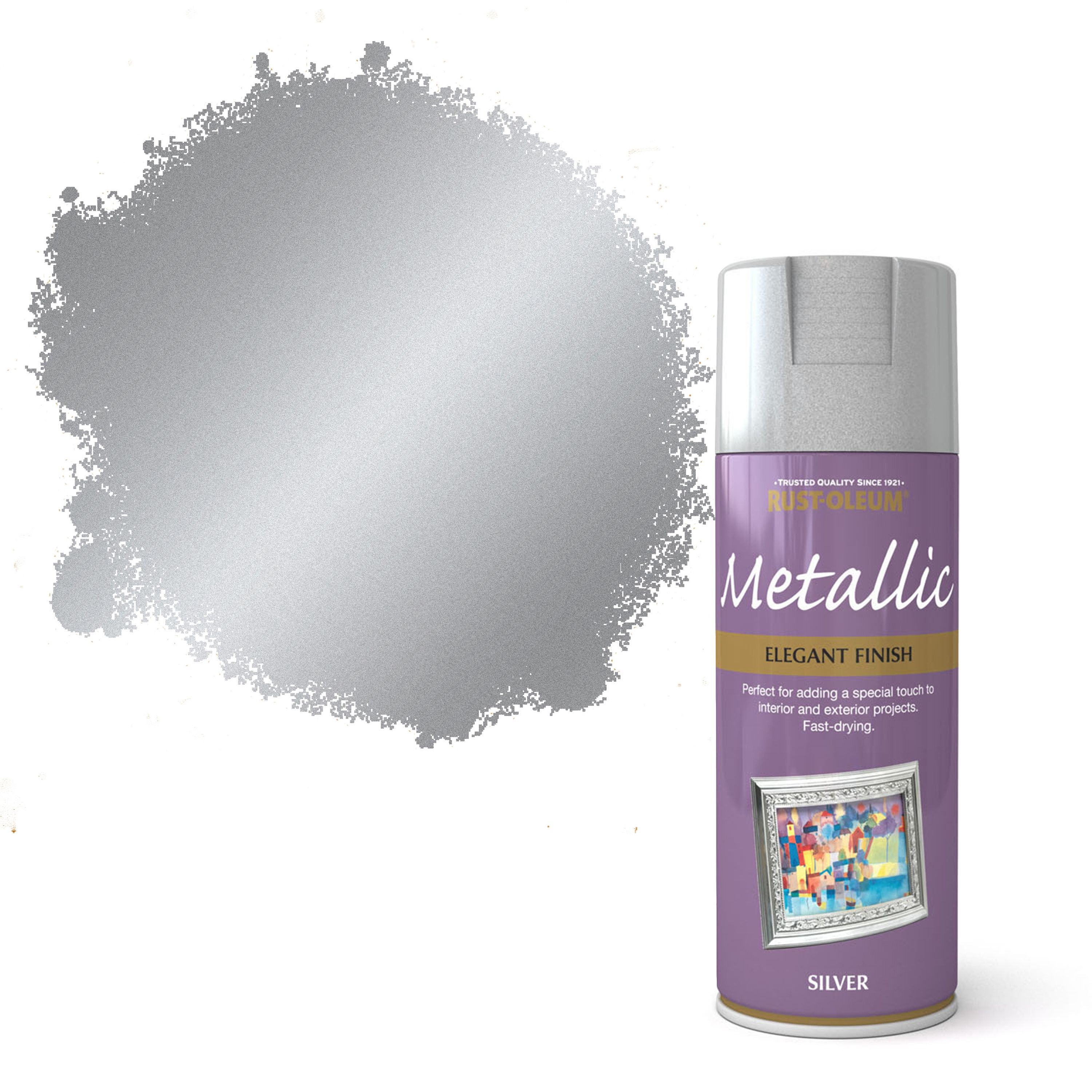 Rust oleum silver metallic spray paint 400 ml for How to make silver paint