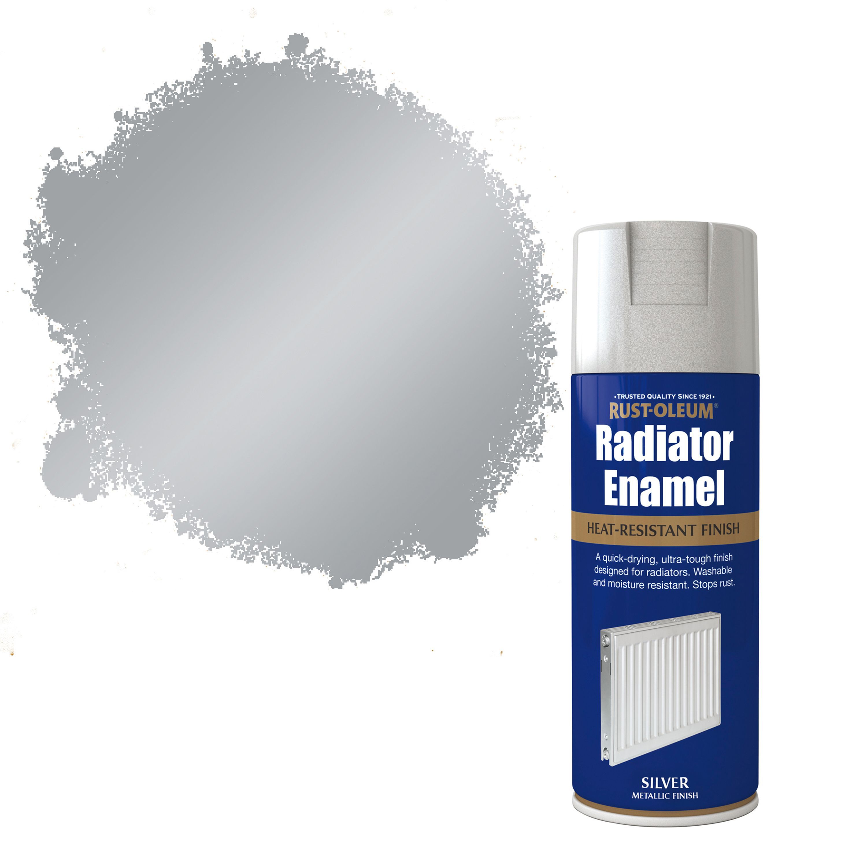 Rust Oleum Silver Metallic Radiator Enamel Spray Paint 400 Ml Departments  Diy At B Q