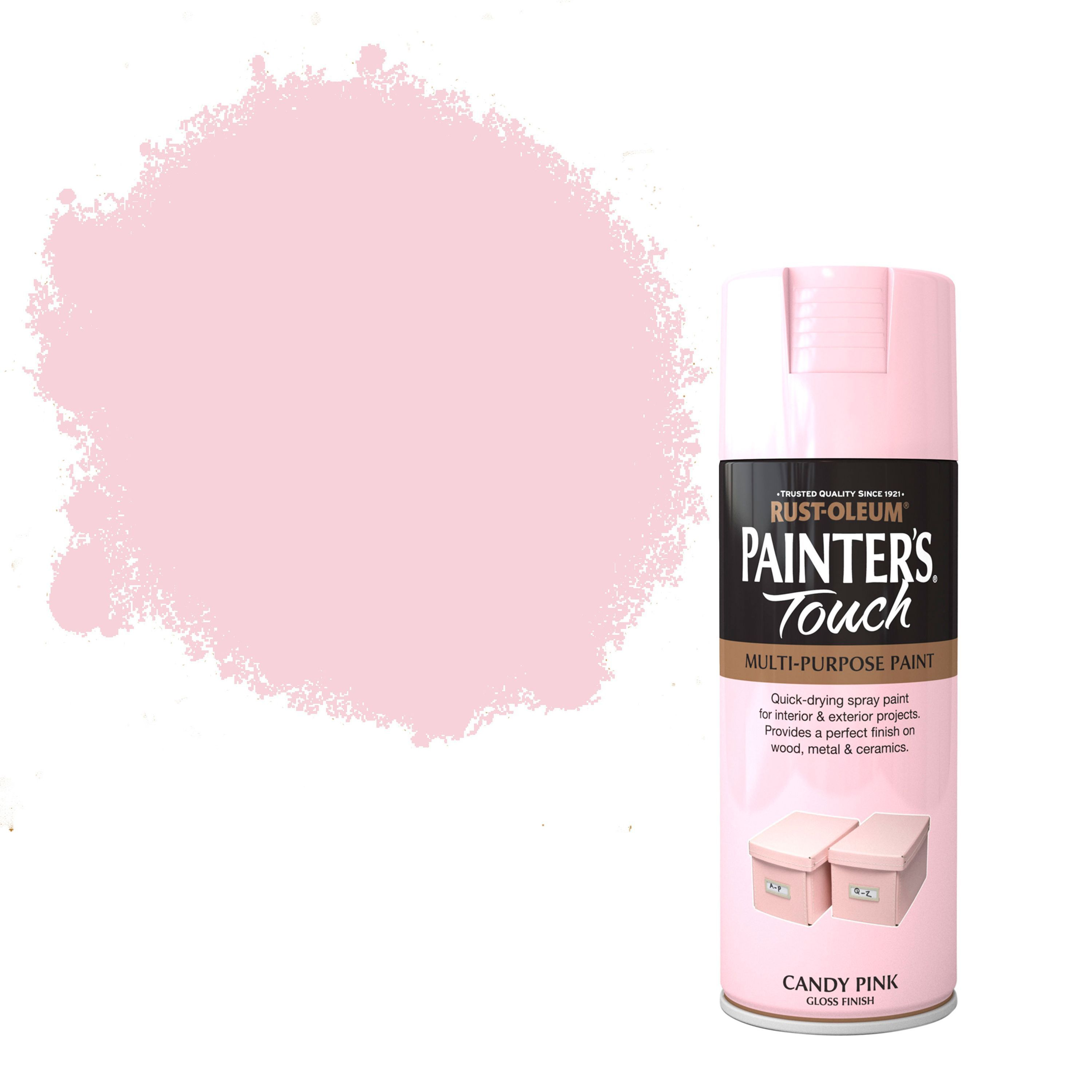 Rust Oleum Painter 39 S Touch Candy Pink Gloss Decorative Spray Paint 400 Ml Departments Diy At B Q