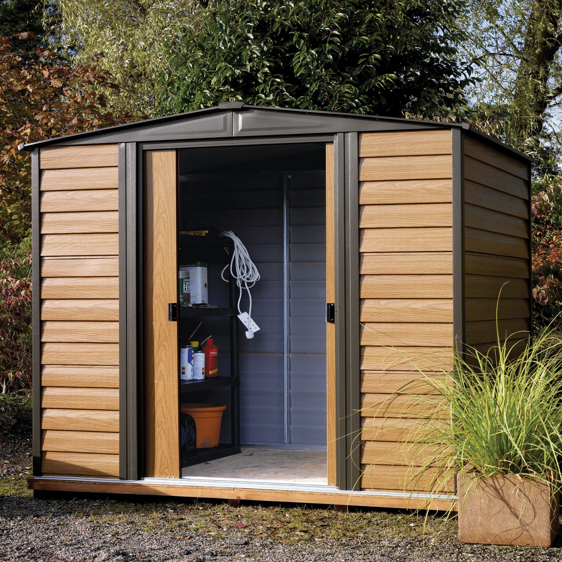 8x6 woodvale apex metal shed departments diy at b q for Garden shed homebase
