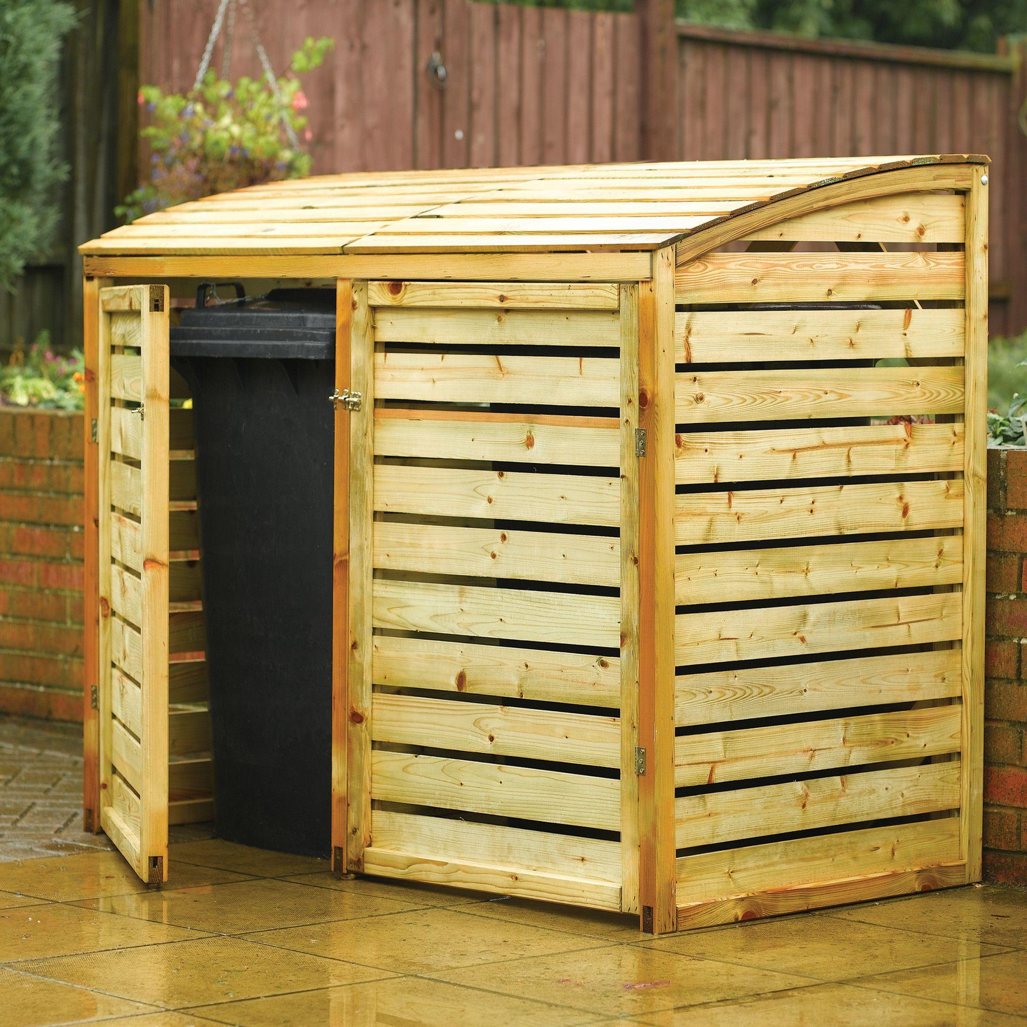 Shiplap Pent Wooden Double Bin Store