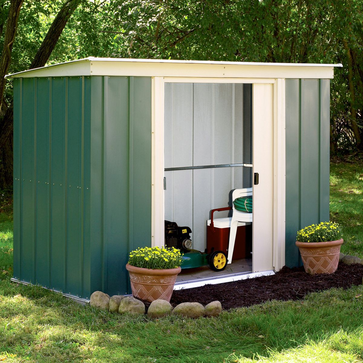 6x4 greenvale pent metal shed with assembly service departments diy at bq