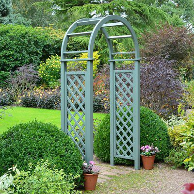 Blooma Softwood Pre Painted Willow Green Lattice Arch