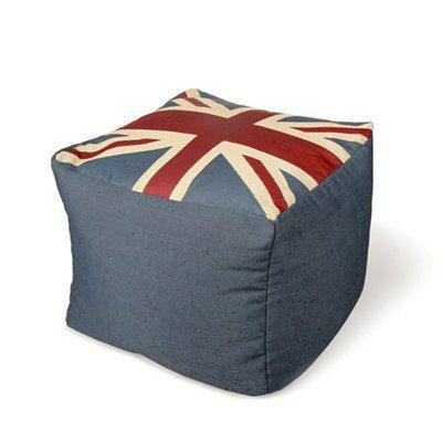 Cynara Union Jack Blue Red Amp White Bean Bag Cube