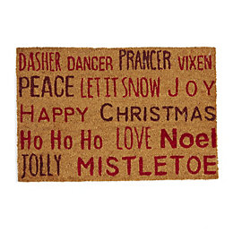 Red Christmas Typography Coir Door Mat (L)400mm (W)600mm