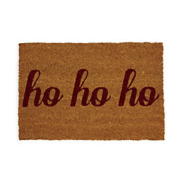 Red Glitter Ho Ho Ho Coir Door Mat
