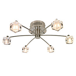 Atrium Clear Brushed Chrome Effect 6 Lamp Ceiling