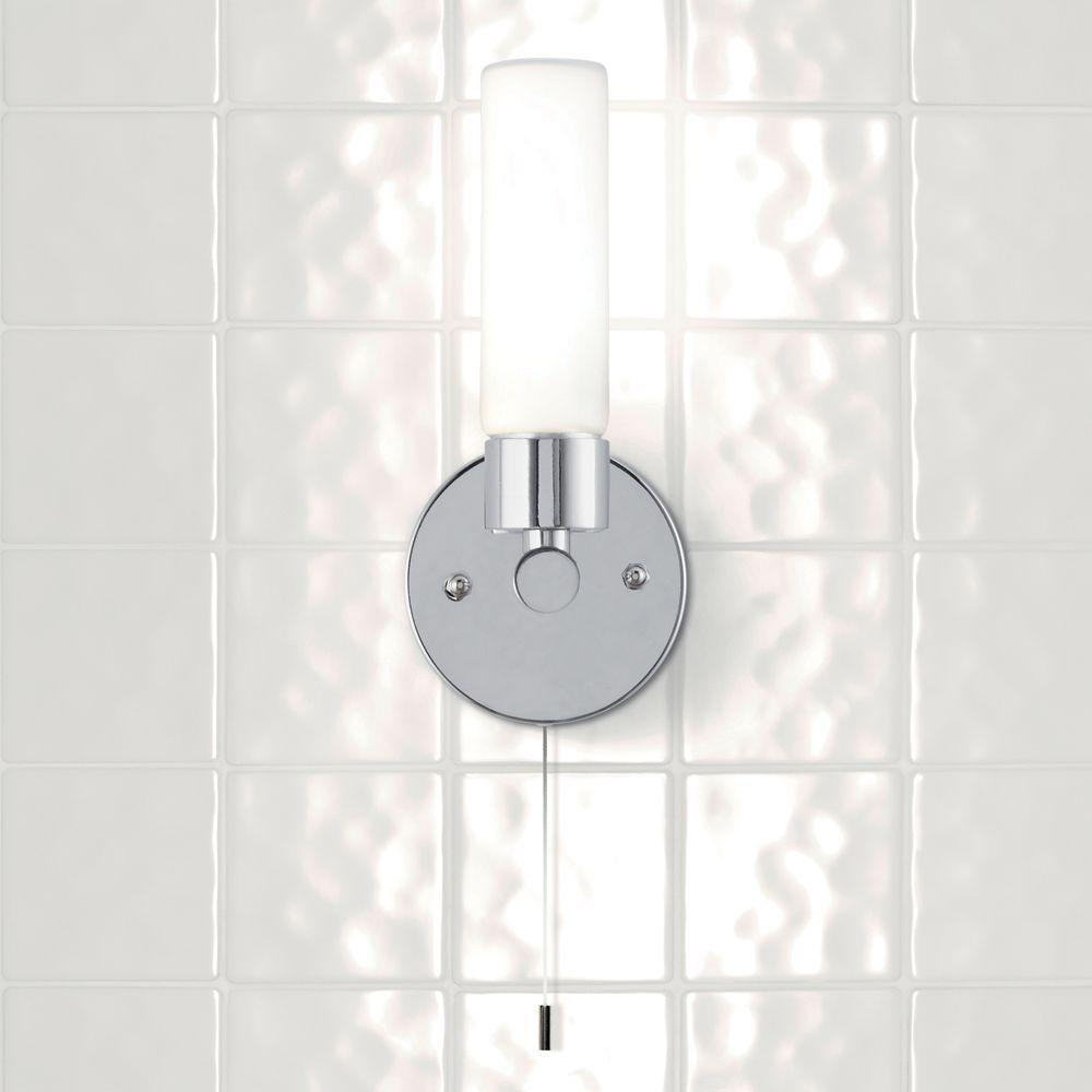 Bathroom Light Switches B&Q float chrome effect halogen capsule bathroom wall light