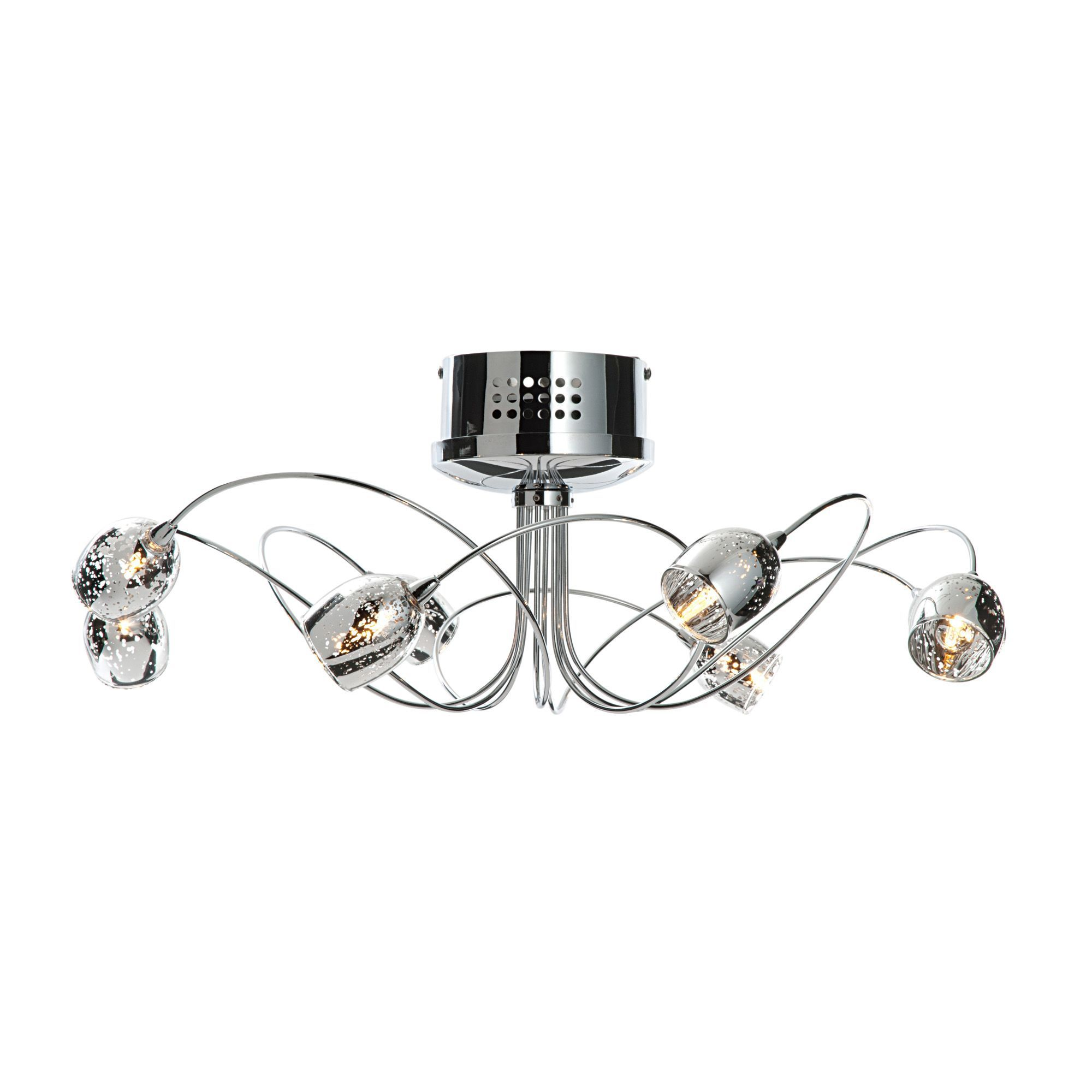 aero chrome effect 8 lamp semi flush ceiling light departments diy at bu0026q