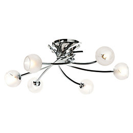 Tempest Swirl Chrome Effect 6 Lamp Semi Flush