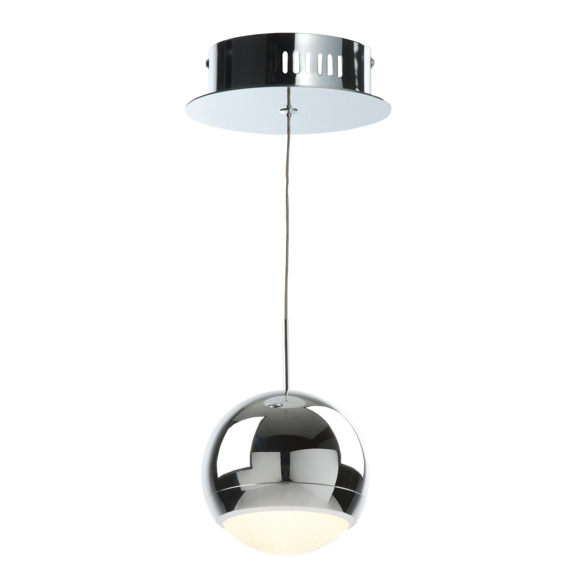 Ceiling Lights Chrome : Solent cage chrome effect pendant ceiling light