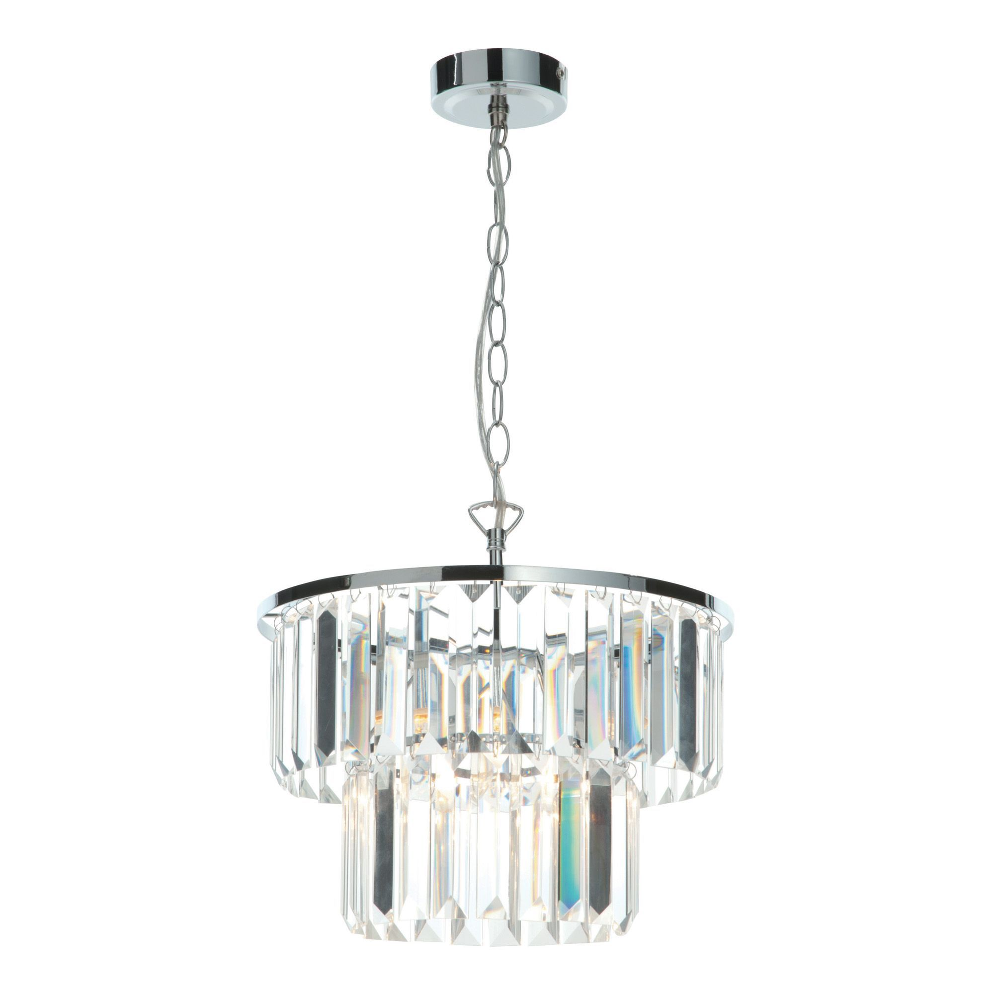 Knightsbridge Faceted Glass Clear Pendant Ceiling Light | Departments | DIY  at B&Q