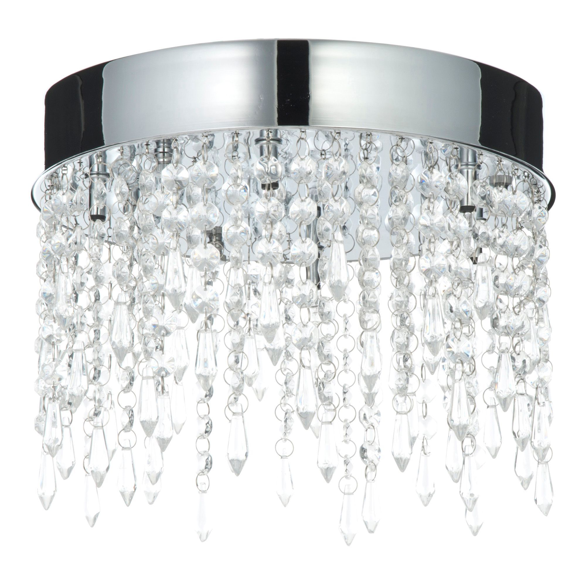 Sabine Crystal Droplets Clear 6 Lamp Flush Ceiling Light