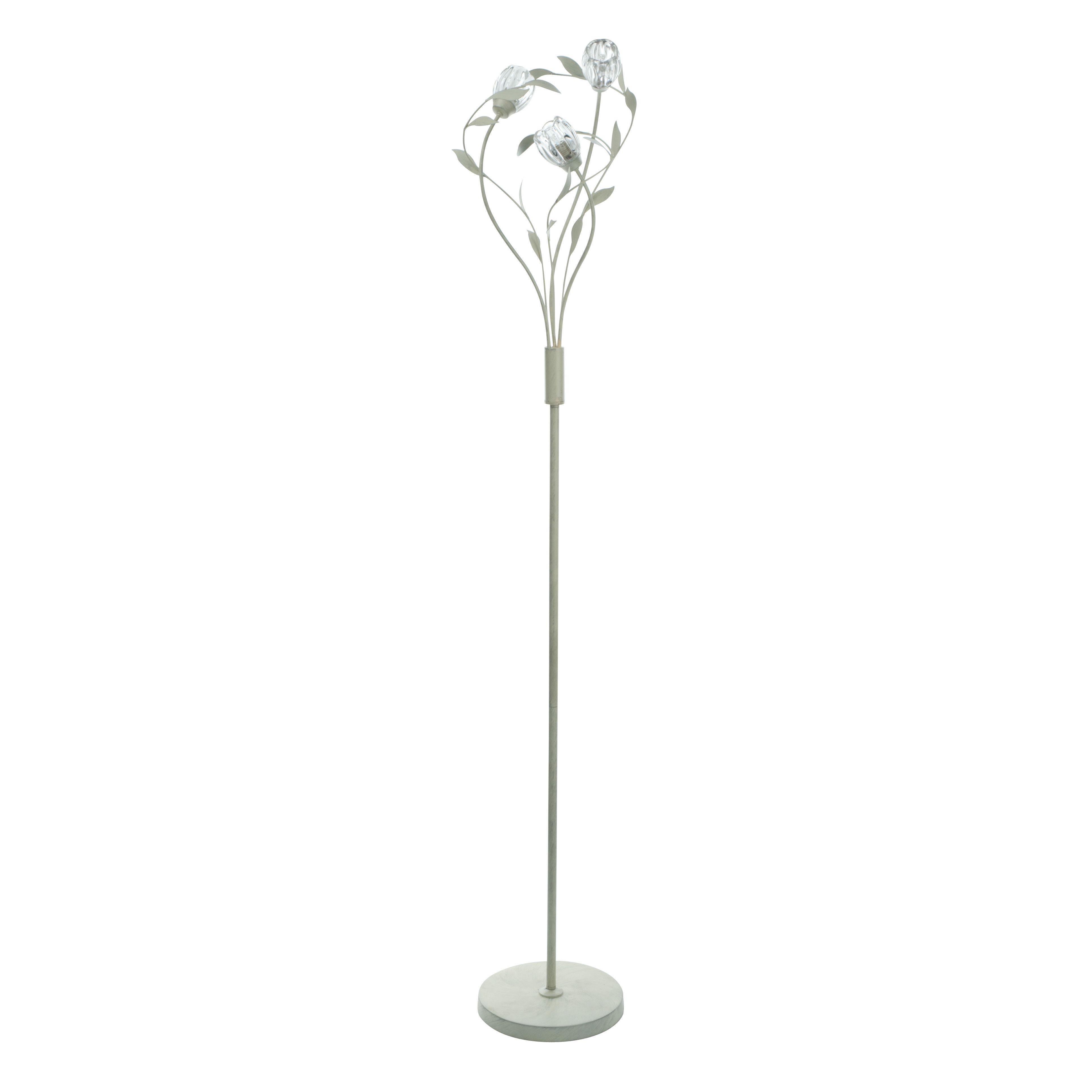 Jessica white silver effect floor lamp departments diy for Diy glass floor lamp