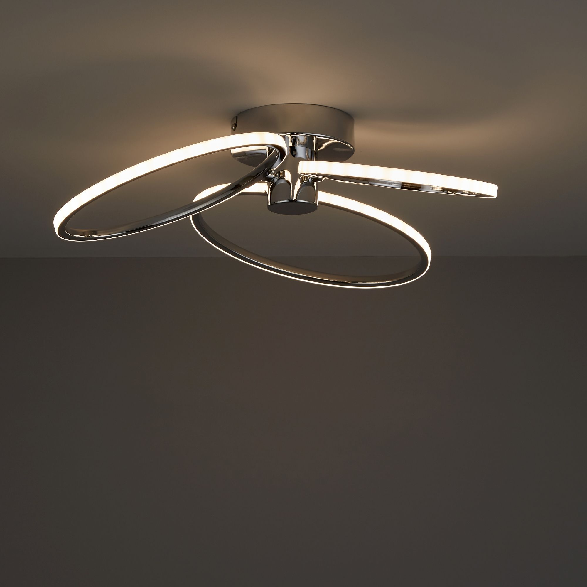 Diy at bq jago led chrome effect 3 lamp ceiling light mozeypictures Gallery