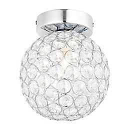 Lopez Crystal Circle Chrome Effect Ceiling Light