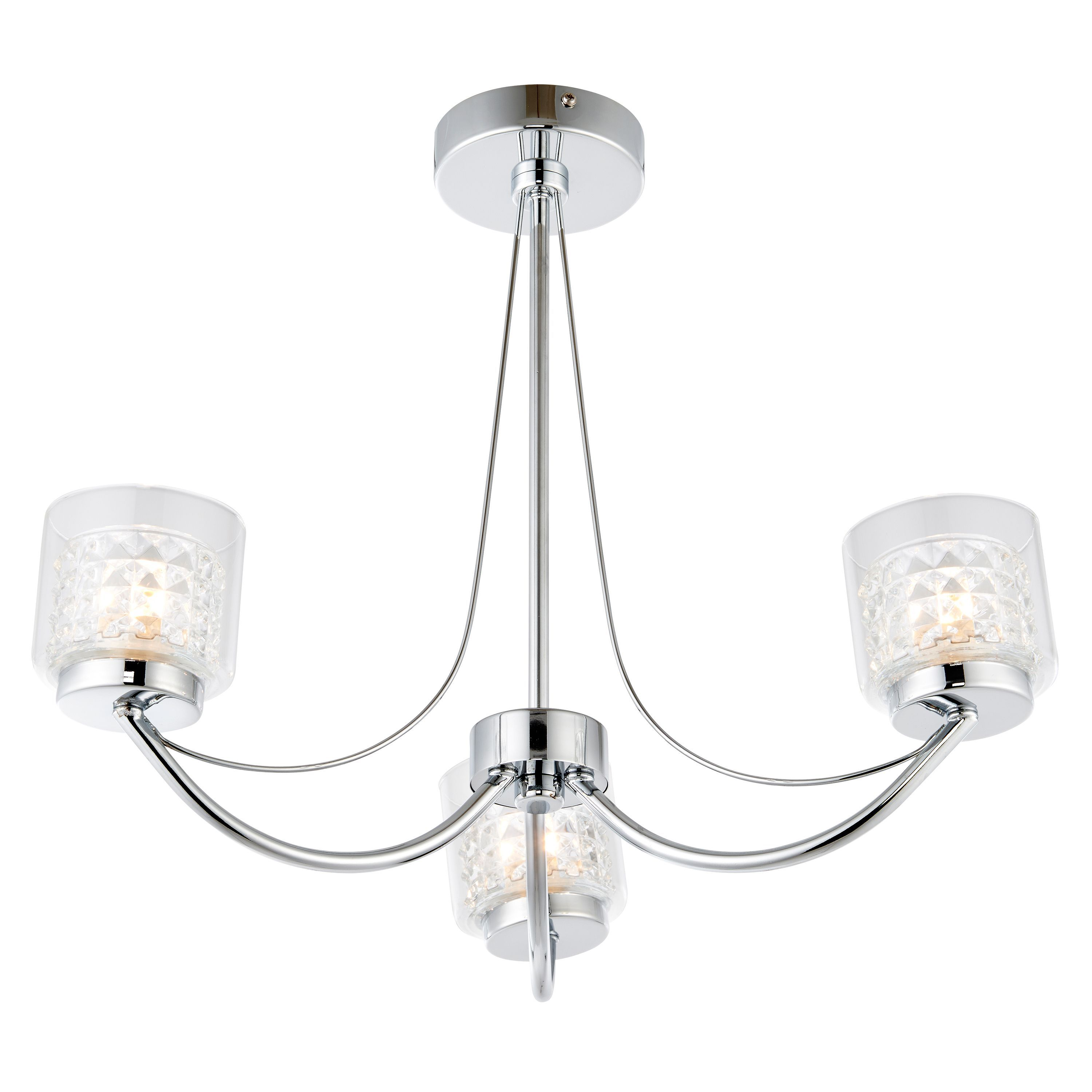 Cromwell Square Cut Glass Chrome Effect 3 Lamp Ceiling Light