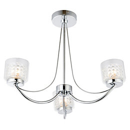 Cromwell Square Cut Glass Chrome Effect 3 Lamp