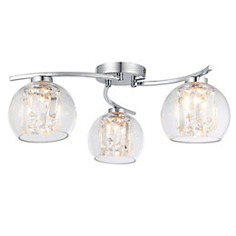 Chico Glass Sphere Chrome Effect 3 Lamp Ceiling