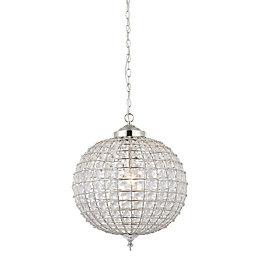 Freya Crystal Sphere Nickel Effect Pendant Ceiling Light