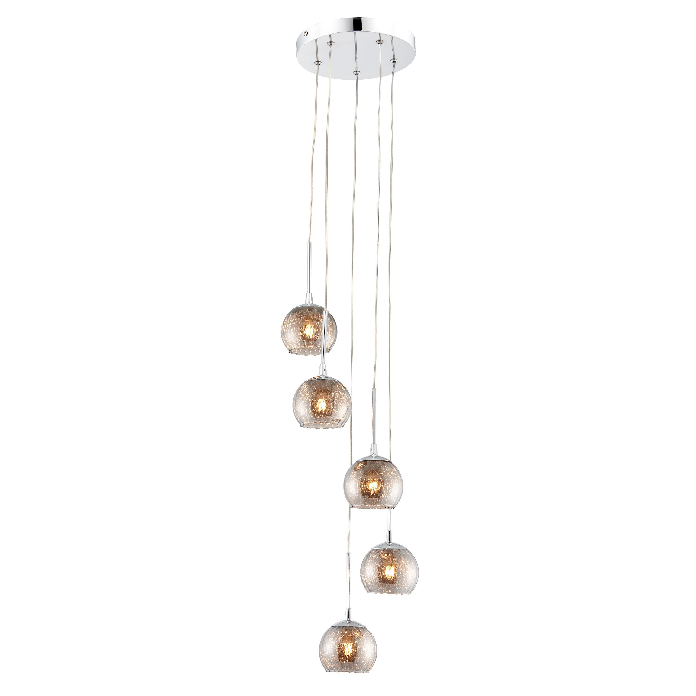 Roset chrome effect 5 lamp pendant ceiling light departments diy at b q - Diy ceiling lamps ...
