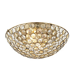 Lopez Crystal Circle Antique Brass Effect 2 Lamp