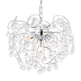 Chesca Droplet Chrome Effect 5 Lamp Pendant Ceiling