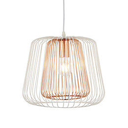 Camparo White & Copper Pendant Ceiling Light